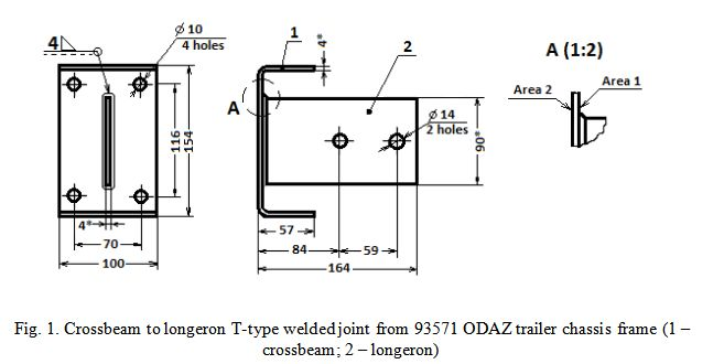 Crossbeam to longeron T-type welded joint from 93571 ODAZ trailer chassis frame (1 – crossbeam; 2 – longeron)